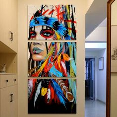 HD printed 3 set canvas wall art Painting native American Indian with feather decoration pictures for living room Poster Painting for decor – Amazighland - Living Rooms Feather Painting, Oil Painting Abstract, Painting Prints, Blue Painting, Painting Canvas, Abstract Canvas, 3 Piece Canvas Art, Canvas Wall Art, Home Wall Art