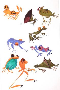 malgang: So many frogs🐸: kiss the sky Art And Illustration, Frosch Illustration, Illustrations, Animal Sketches, Animal Drawings, Art Drawings, Frog Drawing, Frog Art, Cute Frogs
