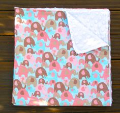 Modern baby stroller blanket with blue pink by BlackTulipQuilts, $40.00