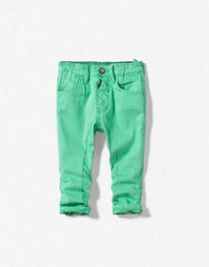 Emerald Green Twill Skinny Trousers