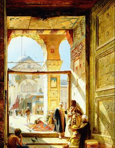 19 century painting of Rudolf Ernst showing the entrace of the Umayyad Mosque in Damascus/Syria. Umayyad Mosque, Art Arabe, Empire Ottoman, Middle Eastern Art, Arabian Art, Islamic Paintings, Arabian Nights, Islamic Art, Beautiful Paintings