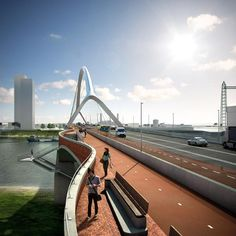 De Oversteek, another brand new bridge in Nijmegen, Netherlands is for cars, pedestrians and bikes.