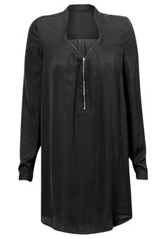 Zip Front Sateen Tunic by Ellos® - Women's Plus Size Clothing