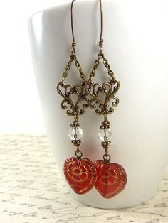 Victorian Heart Earrings Red Glass Hearts by ATwistOfWhimsy Red Glass, Heart Earrings, Hearts, Victorian, Pendant Necklace, Trending Outfits, Unique Jewelry, Handmade Gifts, Pattern