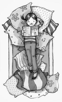 O Lobo Leitor: Uma pequena leitora bem confortável