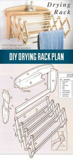 DIY How To Build a Drying Rack - A wall mounted drying Rack in 10 Easy Steps - great for shop towels too. #woodworkingforbeginners