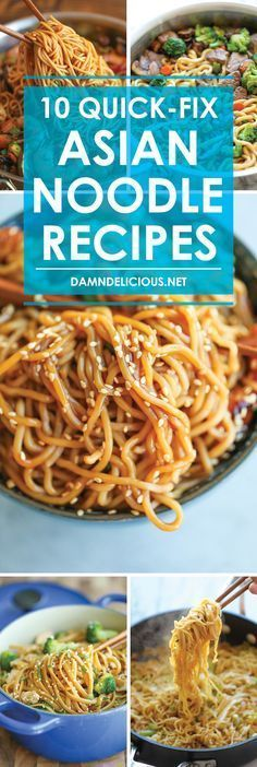 10 Quick-Fix Asian Noodle Recipes - Fast, cheap and quick! And you can use any kind of noodles you have on hand - fettuccine, spaghetti, ramen, anything!   Asian Noodle Recipes, Asian Recipes, Chinese Food Recipes, Ramen Recipes, Asian Noodles, Ramen Noodles, Ethnic Food, Easy Recipes, Main Meal Recipes