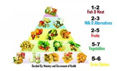 In the Polish food guide, it displays a food pyramid separated into 5 categories: Grains, Vegetables, Fruits, Milk and Fish and Meat. It displays in the food guide that each person should eat about 5-6 servings of grains per day, 5-7 servings of vegetables and 2-5 servings of fruits as a side dish, 2-3 servings of milk, and 1-2 servings of meat an other alternatives.