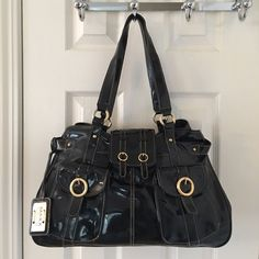 Maxx New York Black Patent Leather Shoulder Bag