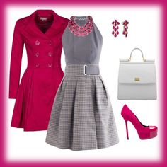To complete: pink trench Business Style, Business Fashion, Pink Trench Coat, Warm Weather, Sassy, Polyvore, Fashion Shoes, Outfit Ideas, Gardens