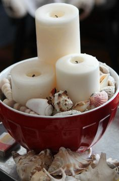 Bowl - seashells - candles