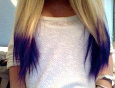 Blonde hair with dark purple ends. Might get this