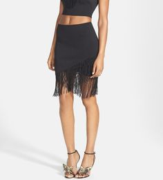 Dancing the night away in this fringed faux wrap skirt!