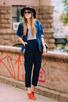 denim jacket with high waist pants