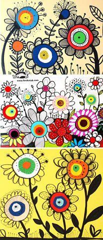 Flower sketches, flower drawings, drawing flowers, flower drawing for Art Floral, Floral Motif, Arte Elemental, Classe D'art, Flower Sketches, Flower Drawings, Flower Drawing For Kids, Ecole Art, Spring Art