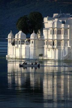 Fairy-tale Ferry: The Lake Palace Hotel is an island in Lake Pichola - Ferries are the only way to get there in Udaipur, Rajasthan, India. Places Around The World, The Places Youll Go, Places To See, Around The Worlds, Beautiful World, Beautiful Places, Udaipur India, India India, Jaipur