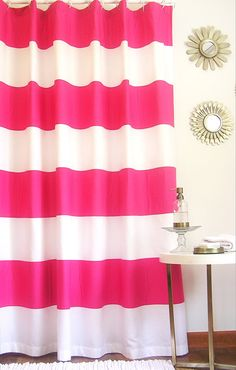 Sale Pink Organic Horizontal Stripe Shower By AnnaMartyDesigns 9900
