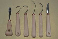 spoon carving chisels, hook, crook chisel - handmade by Gilles, Lithuania