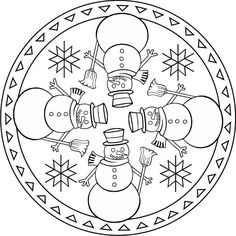 NADAL mandalas - petitmón 1 - Álbumes web de Picasa Snowman Coloring Pages, Christmas Coloring Pages, Colouring Pages, Coloring Pages For Kids, Coloring Books, Mandala Winter, Christmas Mandala, Christmas Artwork, Christmas Colors