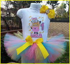 Minion Girls Birthday Outfit Minions Birthday by BowteefulBowtique Minions Birthday Theme, 1st Birthday Outfits, Birthday Tutu, Birthday Shirts, Birthday Parties, Birthday Ideas, Minion Tutu, Minion Baby, Girl Minion