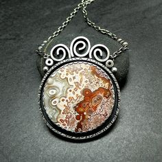 Crazy Lace Agate and Sterling Silver Necklace by McComseyDesigns