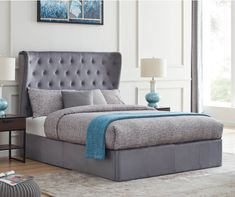 Shop Flintshire Furniture Holway Grey Plush Fabric Ottoman Bed Frame at preferred stockists price from Beds Direct UK with guaranteed fast delivery. Ottoman Bed, Fabric Ottoman, White Headboard, White Bedding, Oak Bed Frame, White Wooden Bed, Oak Beds, Box Bed, Headboard Designs