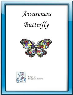 Awareness Plastic Canvas Butterfly Pattern by BearySweetCreations, $3.00