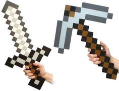 Minecraft sword & pickaxe (foam props)