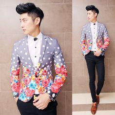 2015 Floral Fashion costume hommes fleur veste hommes Polka Dot veste robe de soirée Club branché hommes tenues fantaisie mince Blazer motif(China (Mainland))