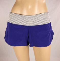 LULULEMON Run Speed Shorts Purple Gray & White Striped Waist Sz 6