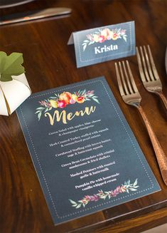 Customize this printable Thanksgiving dinner menu card by handcrafted lifestyle designer Lia Griffith to impress your guests this holiday season Diy Menu Cards, Wedding Menu Cards, Wedding Stationery, French Wedding Decor, Wedding Vintage, Rustic Wedding, Thanksgiving Dinner Menu, Thanksgiving Service, Hosting Thanksgiving