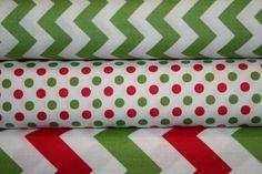 Christmas Chevron and Christmas Dots Fabric BUNDLE  by GlamFabrics, $26.70