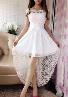$12.16 Elegant Lace Slash Neck Dovetail Dress For Women