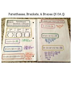 5th Grade Interactive Math Notebook. Common Core: Operations & Algebraic Thinking and Number & Operations in Base Ten