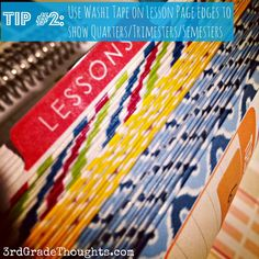 Use washi tape on the side of your pages in your planner to show quarters/trimesters or however your school is organized.
