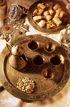 Arabic coffee scene with sweets
