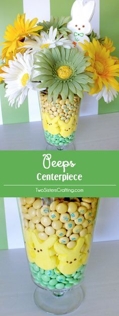 Easter Peeps Centerpiece - Find out how to make this pretty Easter Centerpiece using Peeps, M&M's and artificial flowers. Pin this adorable Easter Craft for later and follow us for more great Easter Decoration Ideas.