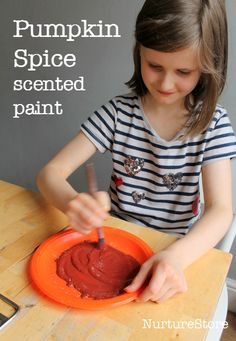 """for """"fall"""" paintings!  pumpkin spice scented paint :: fall painting craft :: autumn crafts"""