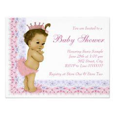 Sweet Baby Pink and Purple Baby Shower Custom Invites