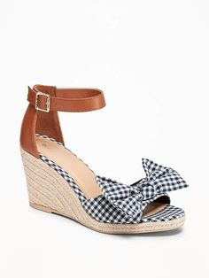 f33964eb0a30 Gingham bow tie espadrille wedges Gingham Shoes
