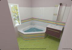 Simulation 3D de Salle de bain Pop & Couleur - 05 Simulation 3d, Corner Bathtub, New Homes, Bathroom, Little Cottages, Home Improvement, Kitchen Organization, Mom, Water