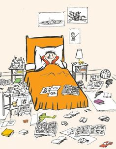 Rester à la maison toute une journée alors que l'on n'est pas tant malade que ça... (Sempé)