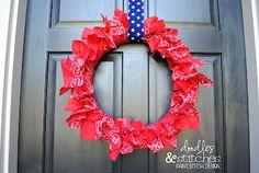 Doodles & Stitches: Patriotic Bandana Wreath Tutorial
