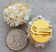 1960s Vintage Laguna Cut Crystal Earrings Clip on Style Mint