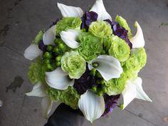 ... purple and white, purple hydrangea, super green roses, Wedding bouquet, ...