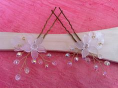 Wire wrapped jewelry handmade hair pins x2. by FlowerRainbow