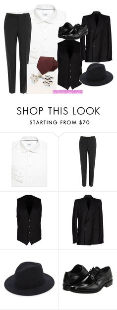 """Classic Three-Piece Suit"" by faeryrain on Polyvore featuring ETON, Alexander McQueen, Dolce&Gabbana, Reiss, Stacy Adams, Burberry, men's fashion and menswear"