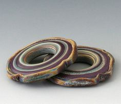 Rustic Squared Focals - (2) Handmade Lampwork Beads - Purple, Brown