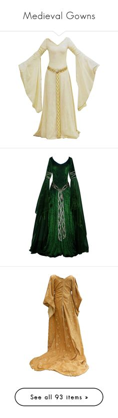 """Medieval Gowns"" by kat-joy ❤ liked on Polyvore featuring dresses, medieval, gowns, costumes, long dresses, costume, long dress, white queen costume, white halloween costumes and white costumes"