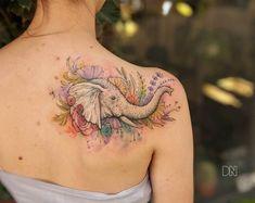 48 Beautiful Tattoos For Women Over 40 - TattooBlend Dope Tattoos, Head Tattoos, Trendy Tattoos, Unique Tattoos, Body Art Tattoos, Tattoos For Guys, Sleeve Tattoos, Tatoos, Elephant Head Tattoo